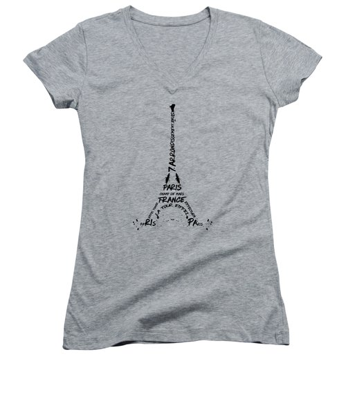 Digital-art Eiffel Tower Women's V-Neck T-Shirt (Junior Cut) by Melanie Viola