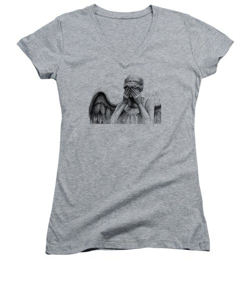 Doctor Who Weeping Angel Don't Blink Women's V-Neck T-Shirt (Junior Cut) by Olga Shvartsur