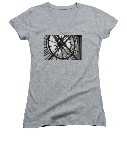 D'orsay Clock Paris Women's V-Neck T-Shirt (Junior Cut) by Joan Carroll