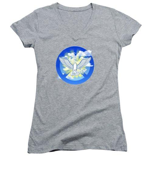 Dove Of Peace Women's V-Neck T-Shirt (Junior Cut) by Chris MacDonald