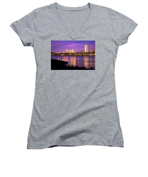 Downtown Tulsa Oklahoma - University Tower View - Purple Skies Women's V-Neck T-Shirt (Junior Cut) by Gregory Ballos