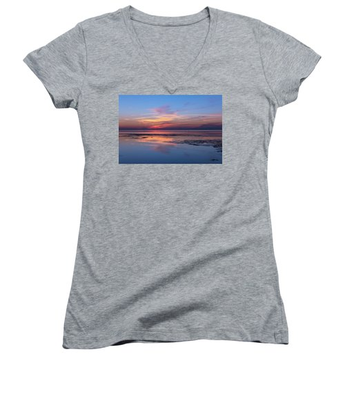 Women's V-Neck T-Shirt (Junior Cut) featuring the photograph Draw The Line by Thierry Bouriat