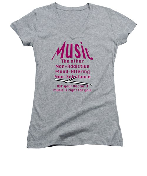 Drum Or Percussion Music Is Right For You 5493.02 Women's V-Neck T-Shirt (Junior Cut) by M K  Miller