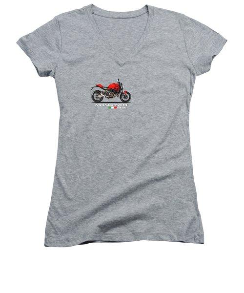 Ducati Monster 821 Women's V-Neck T-Shirt (Junior Cut) by Mark Rogan