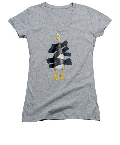 Duck Tape Women's V-Neck T-Shirt (Junior Cut) by Will Bullas