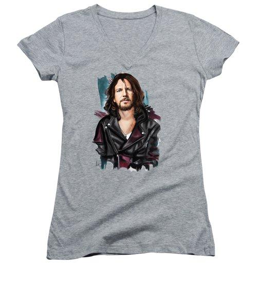 Eddie Vedder Women's V-Neck T-Shirt (Junior Cut) by Melanie D