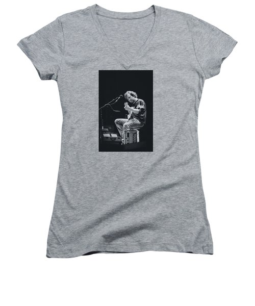 Eddie Vedder Playing Live Women's V-Neck T-Shirt (Junior Cut) by Marco Oliveira
