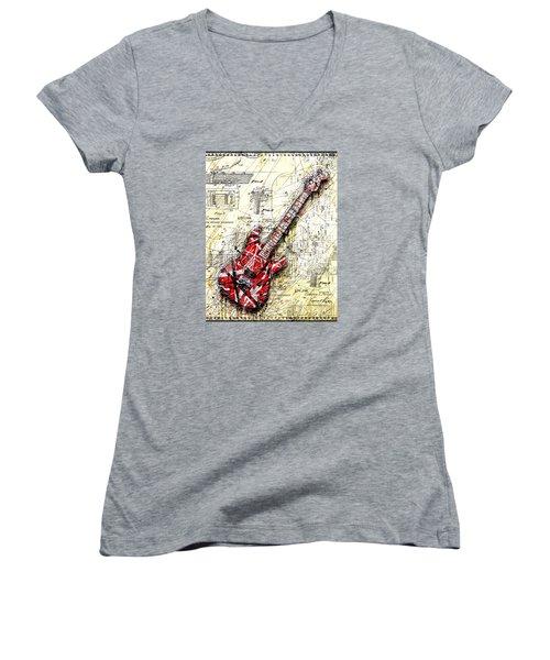 Eddie's Guitar 3 Women's V-Neck T-Shirt (Junior Cut) by Gary Bodnar