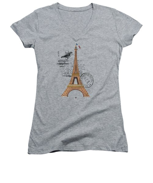 Eiffel Tower T Shirt Design Women's V-Neck T-Shirt (Junior Cut) by Bellesouth Studio