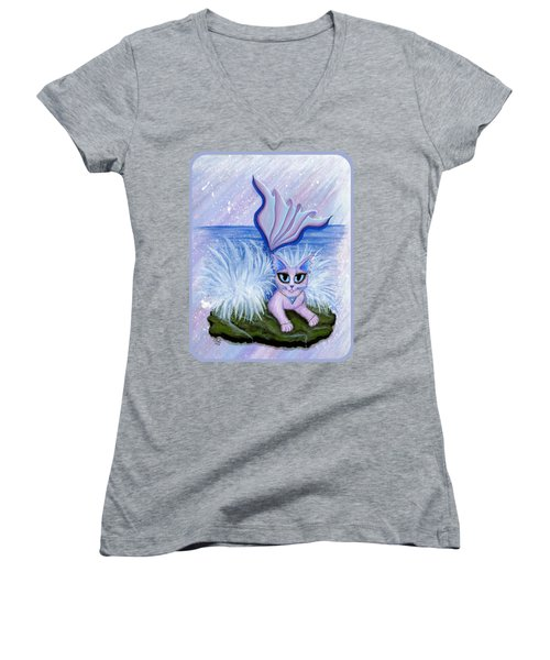 Elemental Water Mermaid Cat Women's V-Neck T-Shirt (Junior Cut) by Carrie Hawks