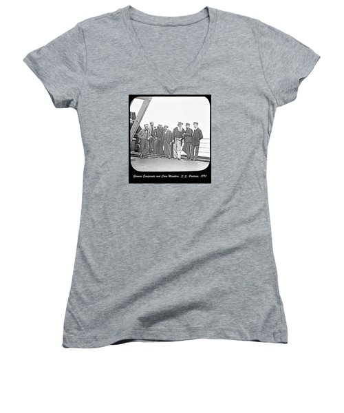 Women's V-Neck T-Shirt (Junior Cut) featuring the photograph Emigrants Passangers And Crew Members On Deck Of Ss Pretori by A Gurmankin