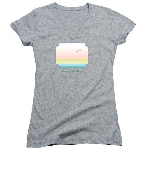 Endless Summer - Pink Women's V-Neck T-Shirt (Junior Cut) by Gill Billington