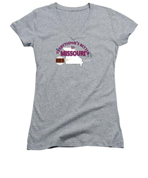 Everything's Better In Missouri Women's V-Neck T-Shirt (Junior Cut) by Pharris Art