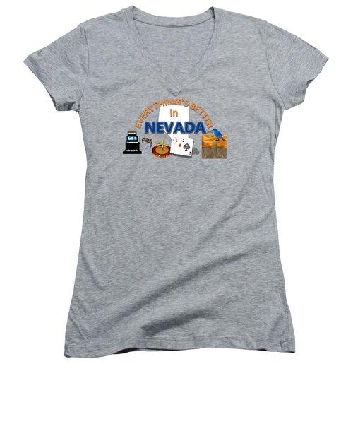 Everything's Better In Nevada Women's V-Neck T-Shirt (Junior Cut) by Pharris Art