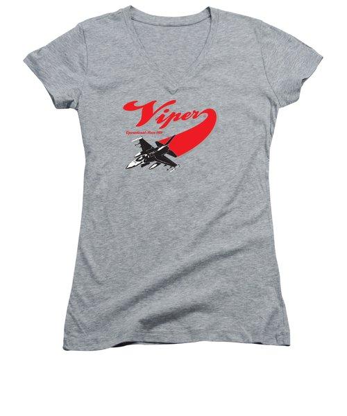 F-16 Swoop Women's V-Neck T-Shirt (Junior Cut) by Clear II land Net