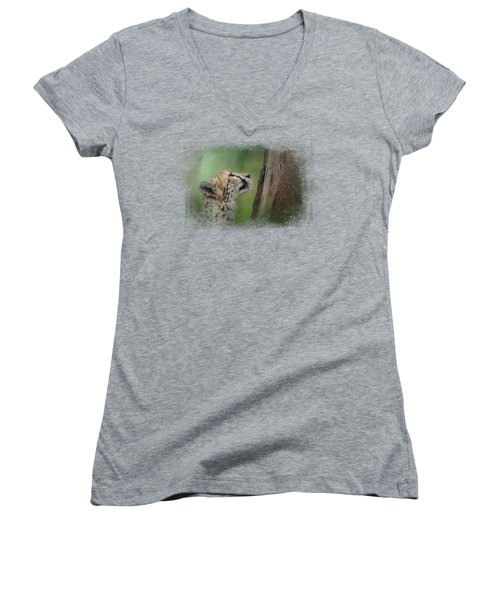 Facing Challenges Women's V-Neck T-Shirt (Junior Cut) by Jai Johnson