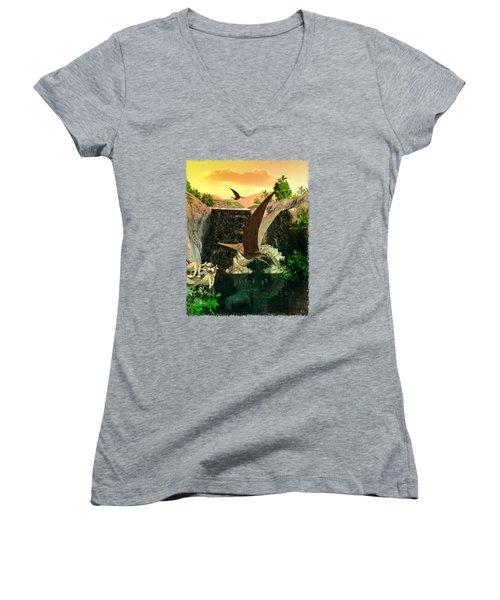 Fantasy Worlds 3d Dinosaur 2 Women's V-Neck T-Shirt (Junior Cut) by Sharon and Renee Lozen