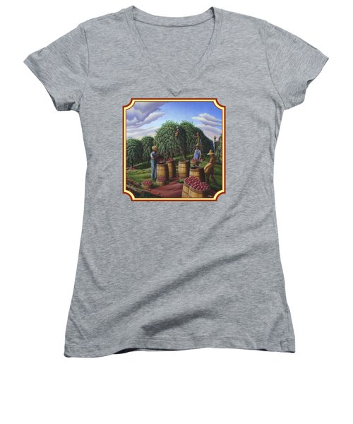 Farm Americana - Autumn Apple Harvest Country Landscape - Square Format Women's V-Neck T-Shirt (Junior Cut) by Walt Curlee