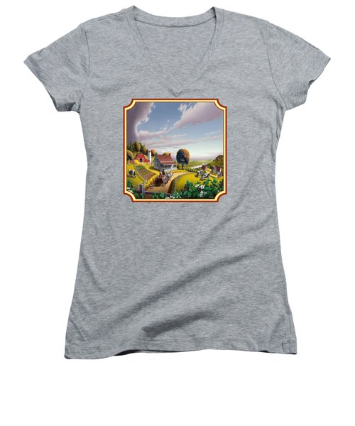 Farm Americana - Farm Decor - Appalachian Blackberry Patch - Square Format - Folk Art Women's V-Neck T-Shirt (Junior Cut) by Walt Curlee