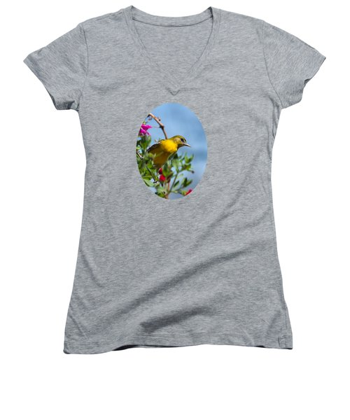 Female Baltimore Oriole In A Flower Basket Women's V-Neck T-Shirt (Junior Cut) by Christina Rollo