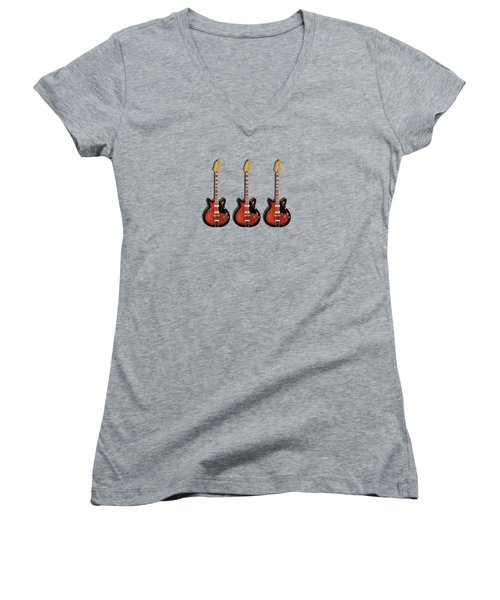 Fender Coronado Women's V-Neck T-Shirt (Junior Cut) by Mark Rogan