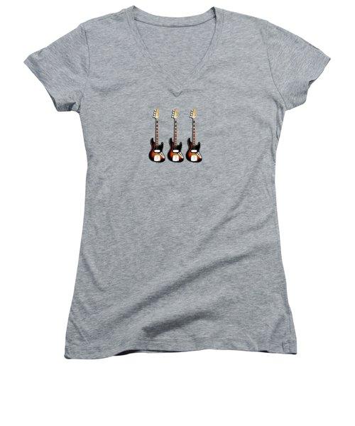 Fender Jazzbass 74 Women's V-Neck T-Shirt (Junior Cut) by Mark Rogan