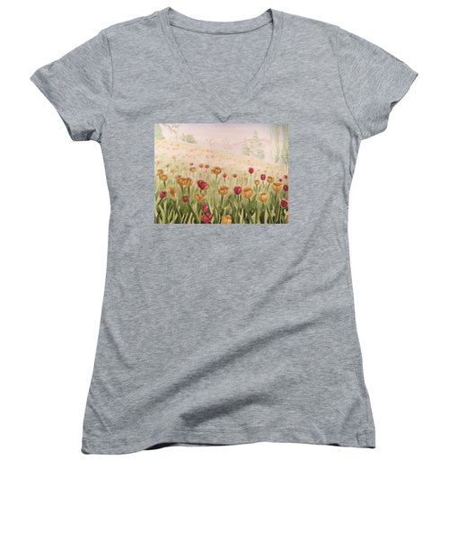 Field Of Tulips Women's V-Neck T-Shirt (Junior Cut) by Kayla Jimenez