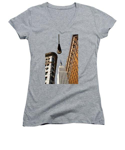 Flatiron District Women's V-Neck T-Shirt (Junior Cut) by Paul Lamonica