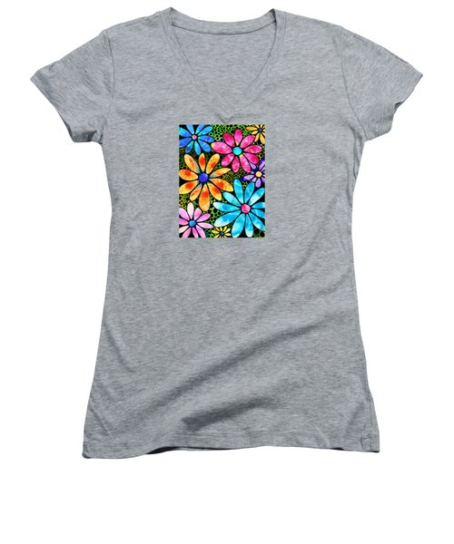 Floral Art - Big Flower Love - Sharon Cummings Women's V-Neck T-Shirt (Junior Cut) by Sharon Cummings