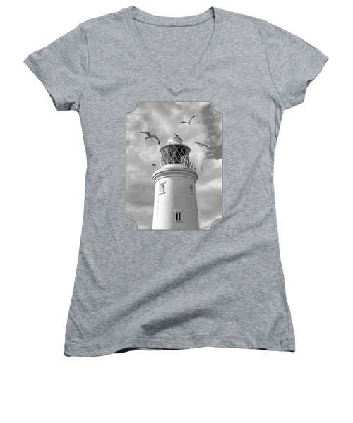 Fly Past - Seagulls Round Southwold Lighthouse In Black And White Women's V-Neck T-Shirt (Junior Cut) by Gill Billington