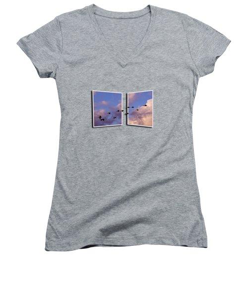 Flying Across Women's V-Neck T-Shirt (Junior Cut) by Roger Wedegis