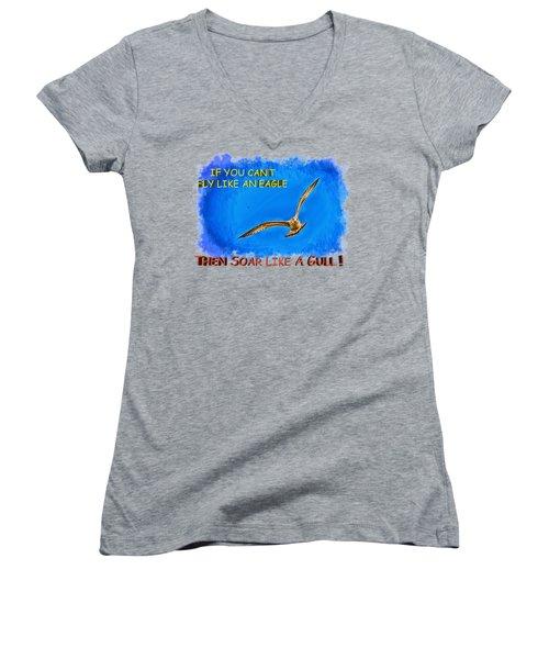 Flying Gull Women's V-Neck T-Shirt (Junior Cut) by John M Bailey