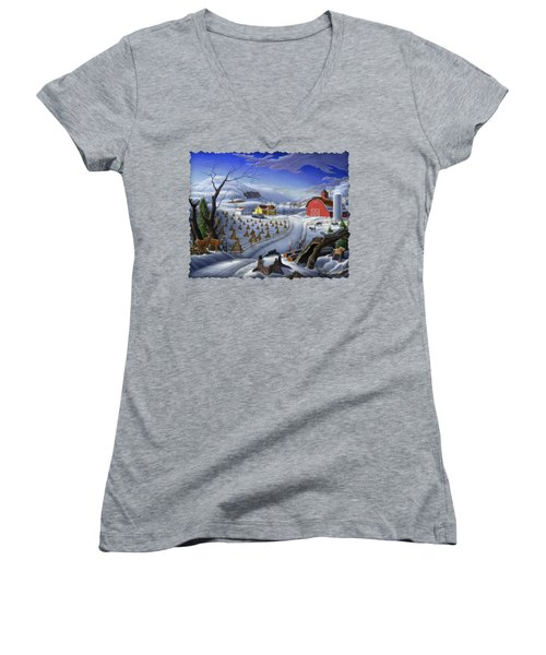 Folk Art Winter Landscape Women's V-Neck T-Shirt (Junior Cut) by Walt Curlee