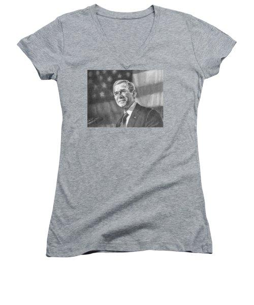 Former Pres. George W. Bush With An American Flag Women's V-Neck T-Shirt (Junior Cut) by Michelle Flanagan