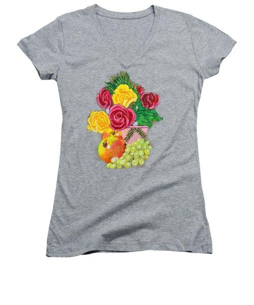 Fruit Petals Women's V-Neck T-Shirt (Junior Cut) by Joe Leist -digitally mastered by- Erich Grant