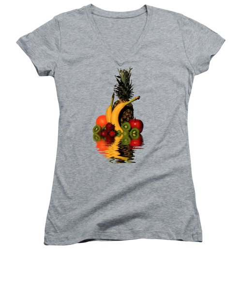 Fruity Reflections - Medium Women's V-Neck T-Shirt (Junior Cut) by Shane Bechler