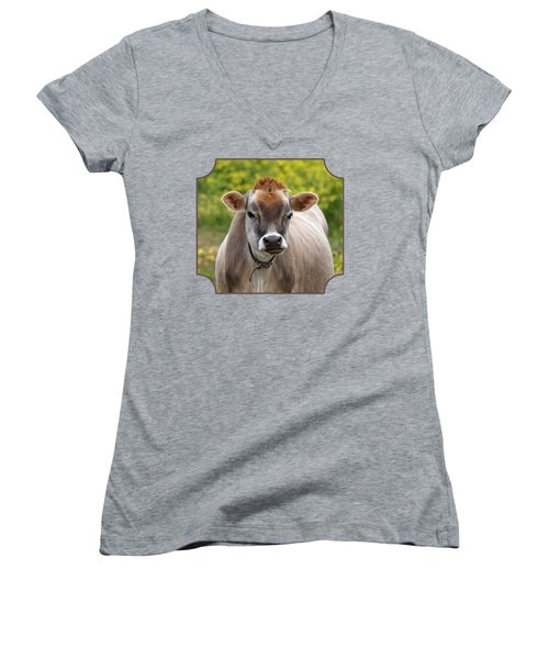 Funny Jersey Cow - Horizontal Women's V-Neck T-Shirt (Junior Cut) by Gill Billington