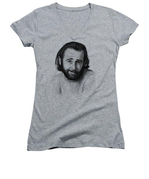 George Carlin Portrait Women's V-Neck T-Shirt (Junior Cut) by Olga Shvartsur
