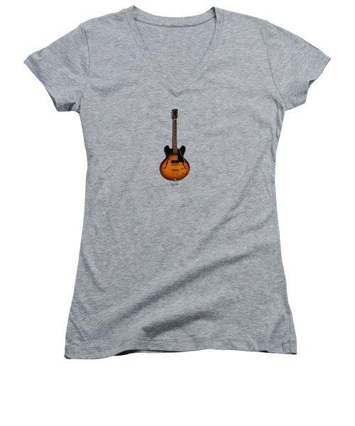 Gibson Semi Hollow Es330 Women's V-Neck T-Shirt (Junior Cut) by Mark Rogan