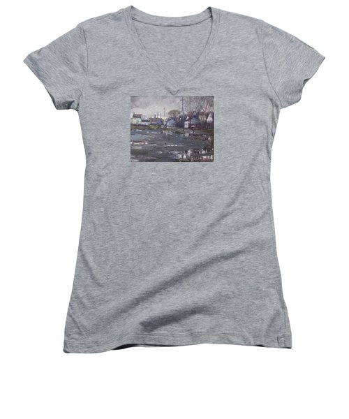 Gloomy And Rainy Day By Hyde Park Women's V-Neck T-Shirt (Junior Cut) by Ylli Haruni