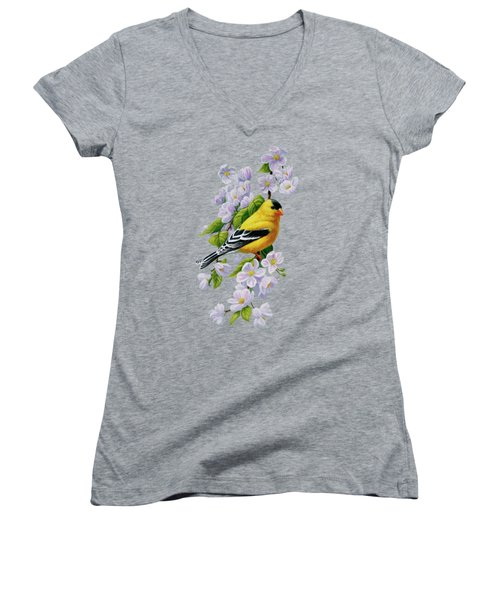 Goldfinch Blossoms Greeting Card 1 Women's V-Neck T-Shirt (Junior Cut) by Crista Forest