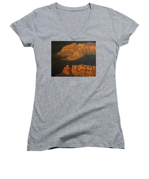 Grand Canyon Meditation Women's V-Neck T-Shirt (Junior Cut) by Jim Thomas