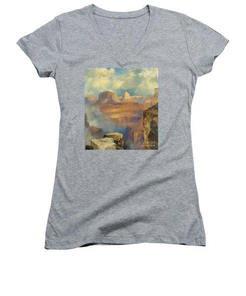 Grand Canyon Women's V-Neck T-Shirt (Junior Cut) by Thomas Moran