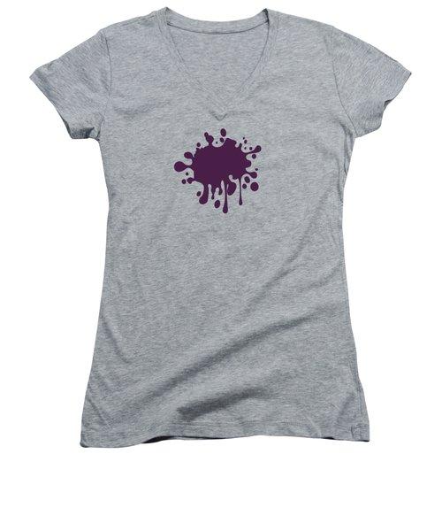 Grape Wine Solid Color Women's V-Neck T-Shirt (Junior Cut) by Garaga Designs