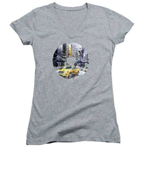 Graphic Art New York City Taxis And Manhattan Skyline Women's V-Neck T-Shirt (Junior Cut) by Melanie Viola