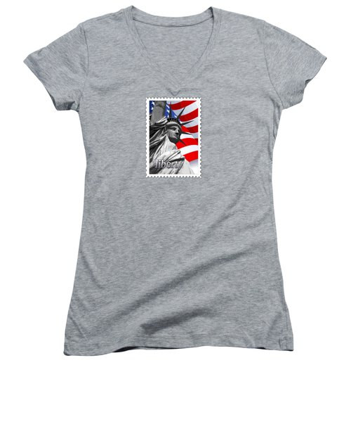 Graphic Statue Of Liberty With American Flag Text Liberty Women's V-Neck T-Shirt (Junior Cut) by Elaine Plesser