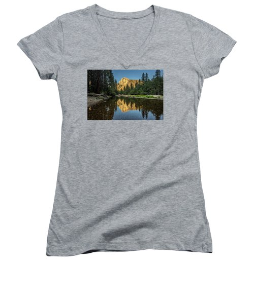 Half Dome From  The Merced Women's V-Neck T-Shirt (Junior Cut) by Peter Tellone