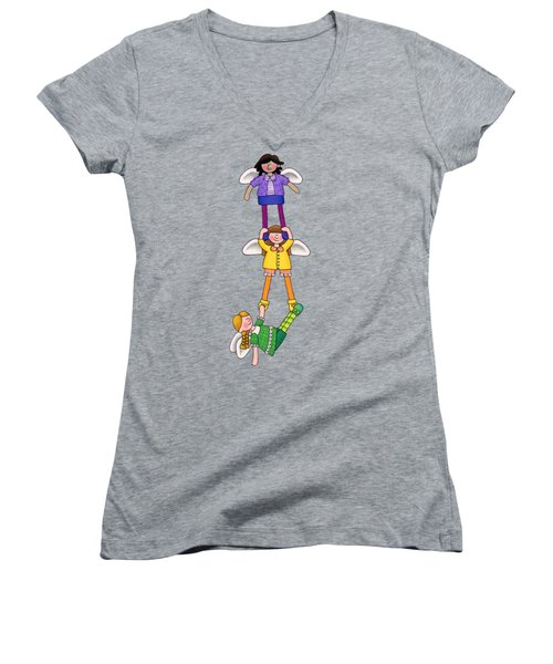 Hang In There Women's V-Neck T-Shirt (Junior Cut) by Sarah Batalka