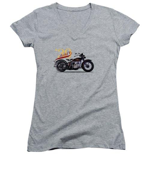 Harley-davidson Model V 1930 Women's V-Neck T-Shirt (Junior Cut) by Mark Rogan