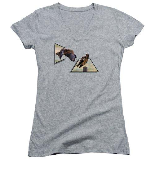 Hawks Women's V-Neck T-Shirt (Junior Cut) by Shane Bechler